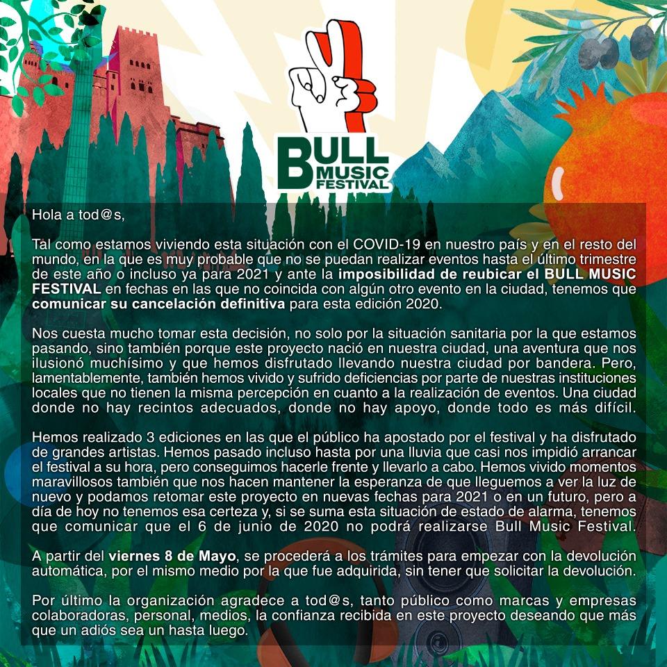 Comunicado cancelación Bull Music Festival-Granada